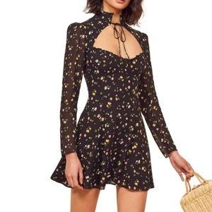 Nasty Gal Black Floral Mini Dress Size 10
